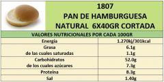 PAN DE HAMBURGUESA NATURAL 6X40GR CORTADA