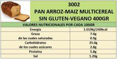 PAN ARROZ-MAIZ MULTICEREAL SIN GLUTEN-VEGANO 400GR