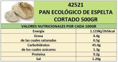 PAN ECOLÓGICO DE ESPELTA 500GR CORTADO