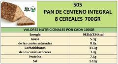 PAN CENTENO INTEGRAL 8 CEREALES 700GR