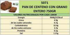 PAN DE CENTENO CON GRANO ENTERO 750GR