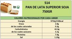 PAN DE LATA SUPERIOR SOJA 750GR