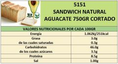 SANDWICH NATURAL AGUACATE 750GR CORTADO