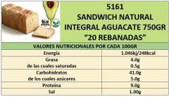 SANDWICH INTEGRAL NATURAL AGUACATE 750GR CORTADO