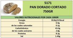 PAN DORADO 750GR CORTADO