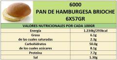 PAN DE HAMBURGUESA BRIOCHE 6X57GR*