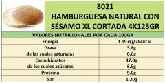 HAMBURGESA NATURAL CON SESAMO XL 4X125GR CORTADA