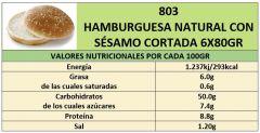 HAMBURGESA NATURAL CON SESAMO 6X80GR CORTADA